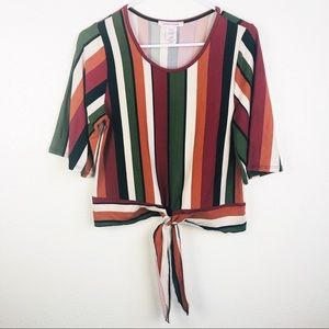 Anthropologie | Oversize Sleeves Striped Crop Top